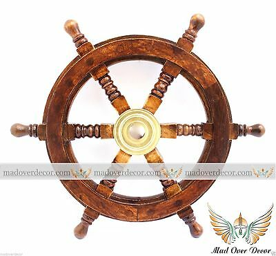 "15 "" Ship Wheel Wooden Marine Wall Decorative Collectible Item"