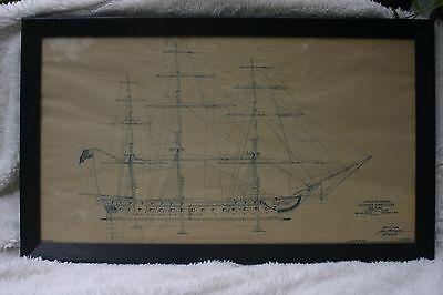 Very Rare Framed 1929 Copy of Blueprint of USS Constitution Sail Plan