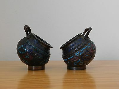 c.19th - Persian Islamic Kashmir Gilt Bronze Enamel Pot Jar - pair set