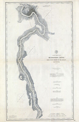 1897 Map of Mississippi River Grand Prairie to New Orleans