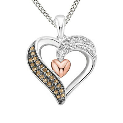 1/5 ct April Birthstone White & Brown Real Diamond Heart Pendant Sterling Silver