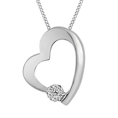 1/20 ct April Birthstone Natural Diamond Cluster Heart Pendant Sterling Silver