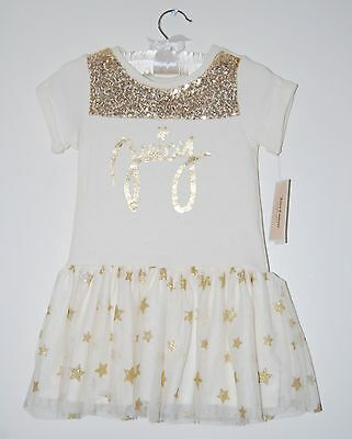 NWT Designer Juicy Couture Toddler Girls Ivory SS Tutu Sparkle Dress sz 2T 3T 4T