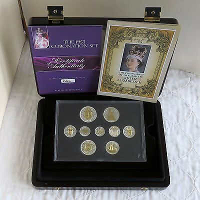 1953 QEII 9 COIN SET LAYERED IN SILVER & ACCENTED IN 22 CARAT GOLD - cased/coa