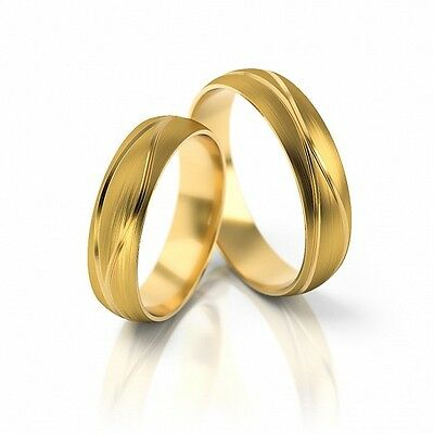1 Pair Wedding Rings Bands 333, 585 or 750 Gold solid, Top Designer only with us