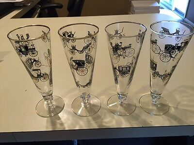 Set/4 Vintage Libbey Old Time Pilsner Glasses Buggies Bikes Horse Drawn Carriage