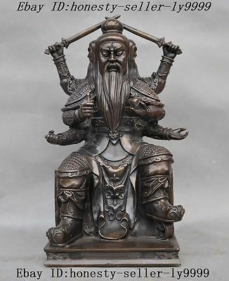Old Chinese Taoism Pure Bronze 3 heads 6 arms Taoist wealth God Laojun Statue