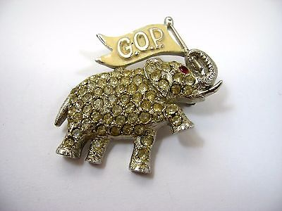 Vintage Collectible Pin Button: GOP Republican Elephant Red Jewel Eye