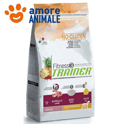 Trainer Fitness 3 Adult Medium Maxi  Agnello, riso e olio KG 12,5 per cane cani