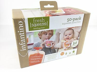 Infantino Squeeze Pouches for Fresh Baby Puree Food, 50 Pack 4 Oz, Free Shipping