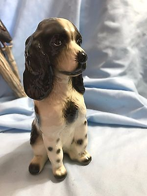 Vtg ROBERT SIMMONS .Ceramic SPANIEL DOG FIGURINE Lady