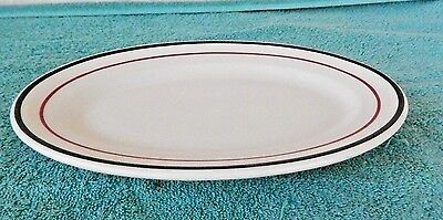 "Vintage Shenango Restaurant Ware Serving Platter ~ 11 3/4"" ~ Black & Red Stripe"