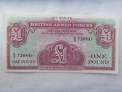 British Armed Forces One Pound Note, £1 Note, Voucher 4th Series Unc