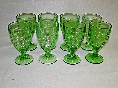 "8 Vintage Hazel Atlas Depression Green Glass 5 7/8"" Colonial Block Goblets"