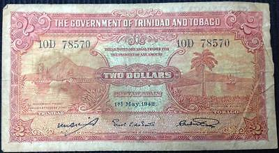 1942 Trinidad and Tobago 2 Dollar $2 George VI Issue Rare Note 1st May 1942