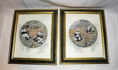 """Pair of JOHN CHENG's PANDA  Framed Prints 10"""" X 12"""" Limited Edition & Signed"""