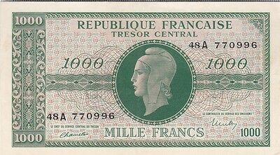 Tresor : 1000 Francs Marianne 1945 Chiffres Gras Serie A Sup