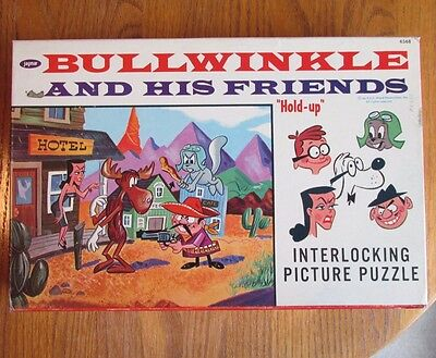 Rare Rocky and Bullwinkle Puzzle with Box Jaymar 1960's Complete Great Condition