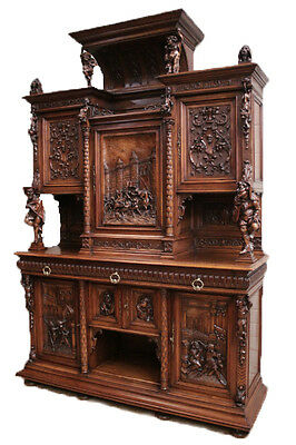 Museum Quality Antique French Renaissance Cabinet with Jesters