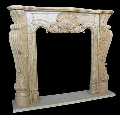 Hand Carved Marble Fireplace Mantel with French Design, Shell Carving & Scrolled