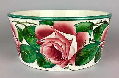 Large Wemyss Pottery -Fife- Antique Cabbage Roses Flower Serving Bowl Basin