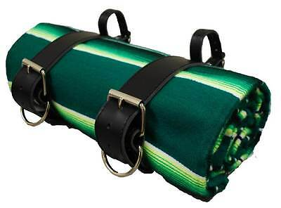 MOTORCYCLE Mexican Serape Roll-up Blanket with Black Leather Belts- Bright Green
