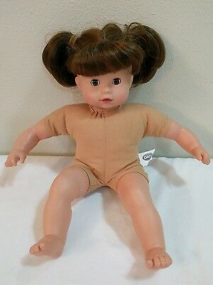"Gotz 16"" Baby Doll Brown Hair Brown Open Close Eyes Soft Body Vinyl Arms Legs"