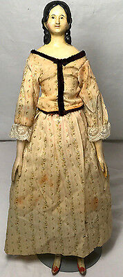 "1800s MILLINER'S MODEL Doll 16.5"" - TERRIFIC Antique Hand-Carved Limbs Kid Body"