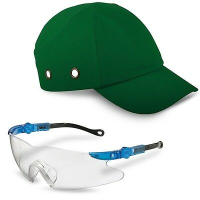 Green Safety Baseball / Bump Cap & Adjustable Safety Glasses with Neck Cord - Co