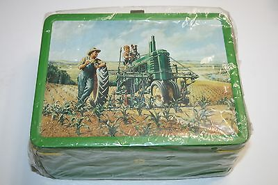 """New! John Deere Metal Tin Green Lunch Box """"Lunchtime"""" Boy Dog Father"""