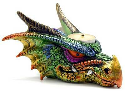 "Multicolored Dragon Head 6-1/2"" Tealight Candle Holder Figurine Gothic Decor"