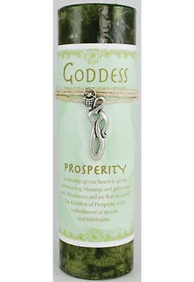 "Prosperity 6-1/4"" Handmade Ritual Pillar Candle w Goddess Charm Pendant Necklace"