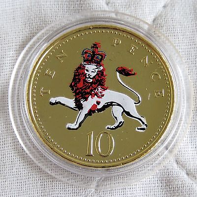 2003 Qeii Ten Pence Layered In Pure Gold And Accented In Full Colour