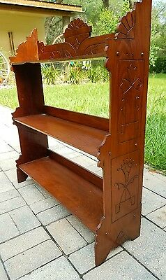 Wall Shelf curio knick knack teacup wooden 3 Tier carved Victorian Eastlake