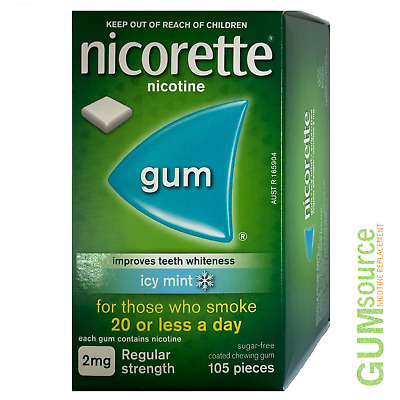 Nicorette 2mg COATED ICY MINT  1 box 105 pieces Nicotine Quit Smoking Gum