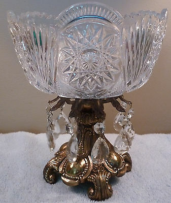 Hollywood Regency cut glass bowl with brass pedestal and glass prisms