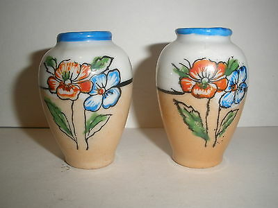 "Pair Miniature Japanese signed Hand Painted Vases, 2"" Tall."