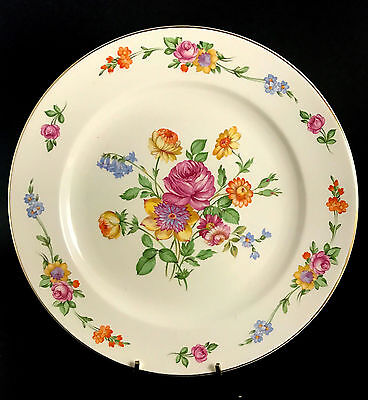 c1946 Knowles Semi Vitreous Red, Purple & Yellow Flowered Porcelain Plate
