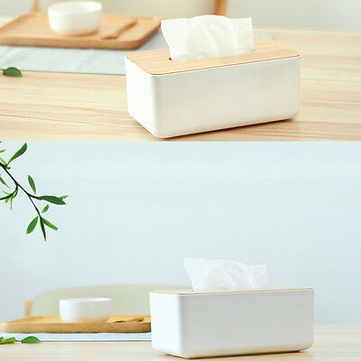 Plastic Home Room Car Hotel Tissue Box Wooden Cover Paper Napkin Holder Case AC