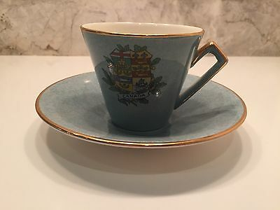 Royal Winton Grimwades Canada Crest Teacup And Saucer Model 5004 in blue/green