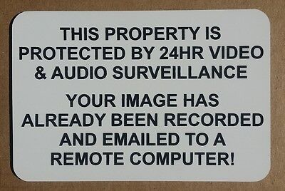 24HR Video Audio Surveillance Sign Plaque 15cm x 10cm CCTV Remote Email Security