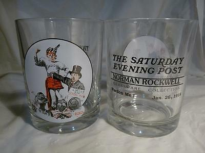 2x Norman Rockwell Saturday Evening Post GLASS collectible Combined Shipping
