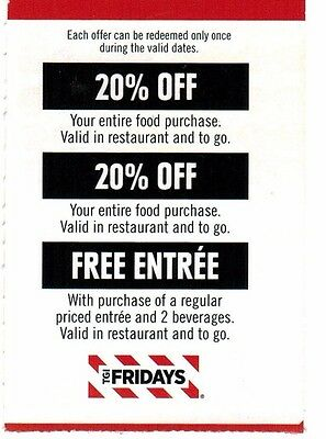 3 August 2017 TGI FRIDAYS coupons card 20% off ENTIRE TABLE & NO COST ENTREE
