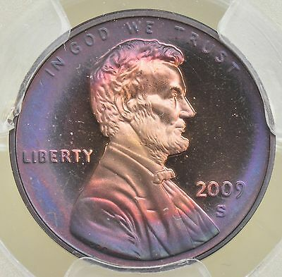 Toned 2009-S Lincoln Cent Proof - Presidency PCGS PR68RD DCAM - Purple Teal