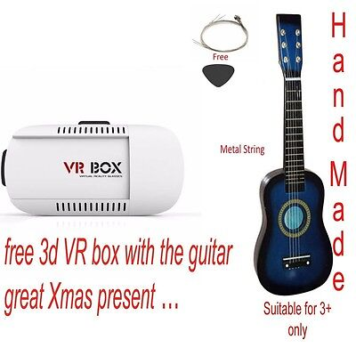 (BLUE) - Kids Hand Made Wooden Acoustic Guitar with Metal String With free 3D VR