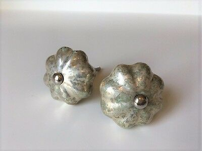 Mercury Glass Drawer Pulls, Cabinet Pull Handles, Knobs, Set of 2 Furniture Acce