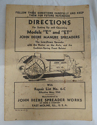 Original 1940 JOHN DEERE Model E & ET Manure Spreader Setup & Repair Manual