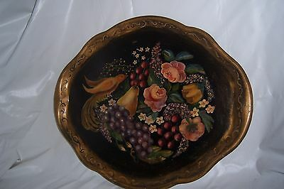 Antique Metal Painted Toleware Serving Tray Bird-Fruit-Flower~Shabby Tole Floral