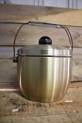 Vintage Retro Gold Anodized Aluminium Ice Bucket Retro Bar Apple Pear