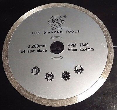 "8"" x 7/8""- 1.9mm thick Sintered Diamond Tile/Rock Saw Blade 7640 rpm"